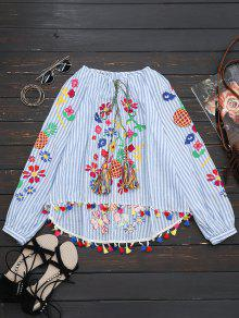 Tassels High Low Embroidered Blouse - Stripe M