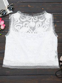 Embroidered Ruffles Lace Tank Top - White S