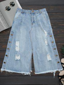 Ripped Button Up Wide Leg Capri Jeans - Denim Blue S