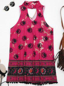 Choker Mask Graphic Turnic Dress With Fuzzy Balls - Rose Red S
