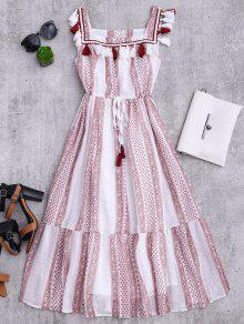 فستان مشد طباعة شرابة ميدي سترة - أبيض Xl