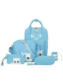 5 Stück Katze Druck Leinwand Rucksack Set - Azurblau