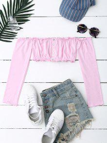 Button Up Off Shoulder Cropped Top - Pink