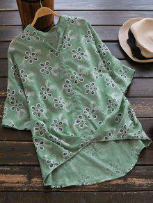 Loose Embroidered Linen High Low Blouse - Light Green