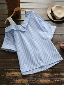 Loose One Shoulder Striped Blouse - Stripe L
