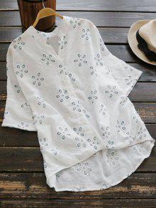 Loose Embroidered Linen High Low Blouse - White