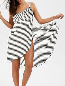 فستان شال مخطط مفتوحة الظهر لف - أبيض Xl