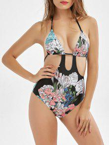 Floral Print Cut Out High Waisted Swimwear - Black L