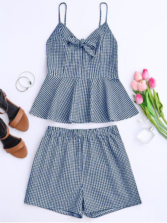 hot Plaid Peplum Knot Top and Shorts - BLUE S