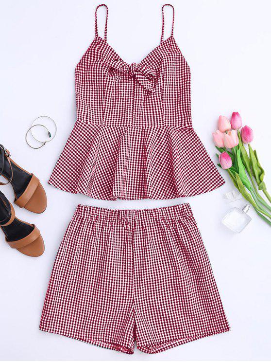 Haut et Shorts à carreau avec nœud papillon et péplum - Rouge M