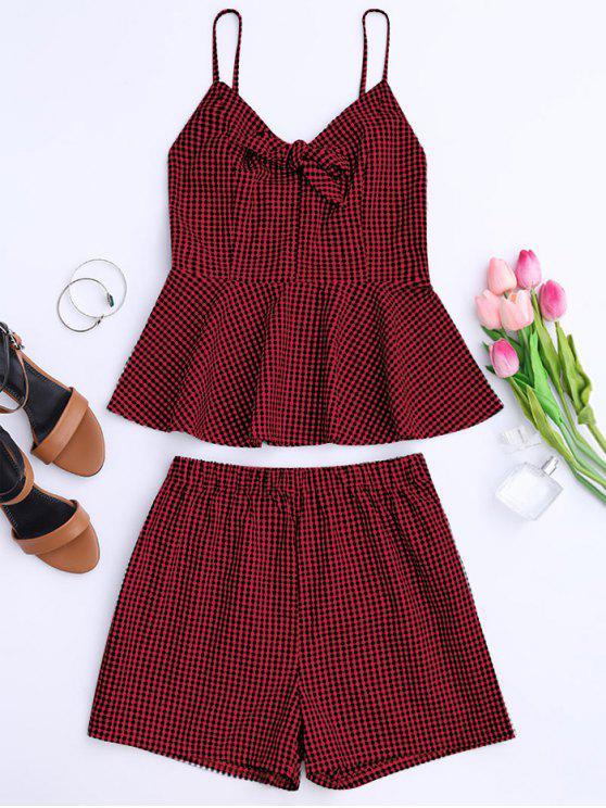 Plaid Peplum Knot Top y pantalones cortos - Rojo oscuro M