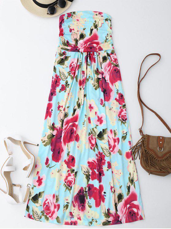 فستان طباعة الأزهار ماكسي بلا حمالة عطلة - الأزهار S