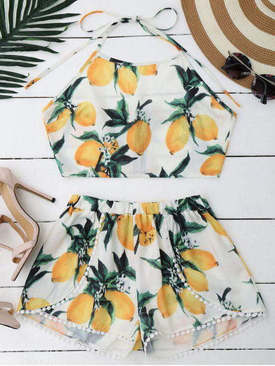 ladies Lemon Halter Crop Top Shorts Set - WHITE S