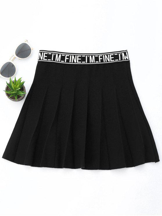 Knitting Letter A-Line Mini Skirt - Black