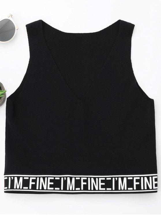 sale V Neck Letter Knitting Tank Top - BLACK ONE SIZE