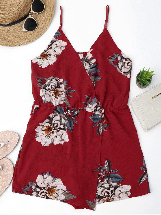 women's Cami Layered Floral Romper - FLORAL S