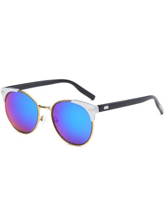 جولة مرآة عين القط الرجعية النظارات الشمسية - أزرق أخضر