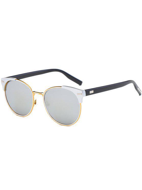 جولة مرآة عين القط الرجعية النظارات الشمسية - يعكس اللون الأبيض