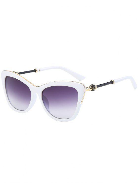 fashion Metal Inlay Frame Butterfly Anti UV Sunglasses - WHITE