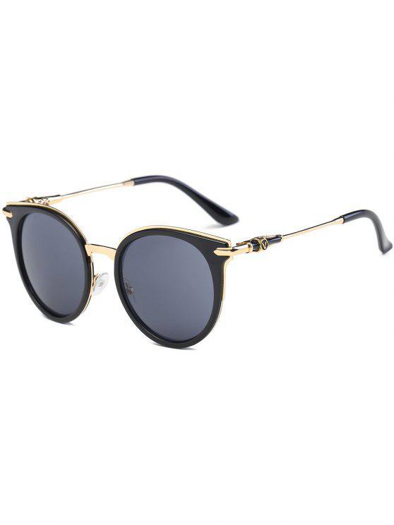 القط العين المعادن الربط الساق جولة النظارات - أسود رمادي