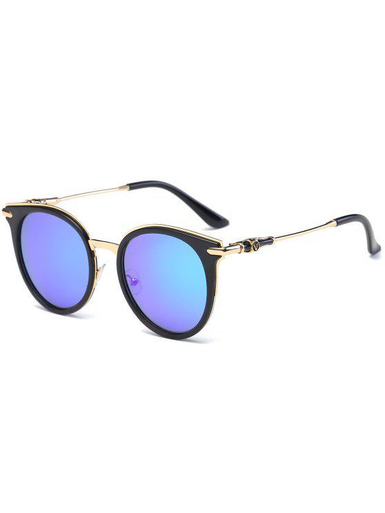 مرآة عاكسة جولة خمر القط العين النظارات الشمسية - ازرق غامق