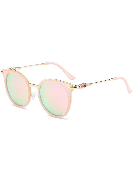 مرآة عاكسة جولة خمر القط العين النظارات الشمسية - الوردي الإطار + عدسة الوردي