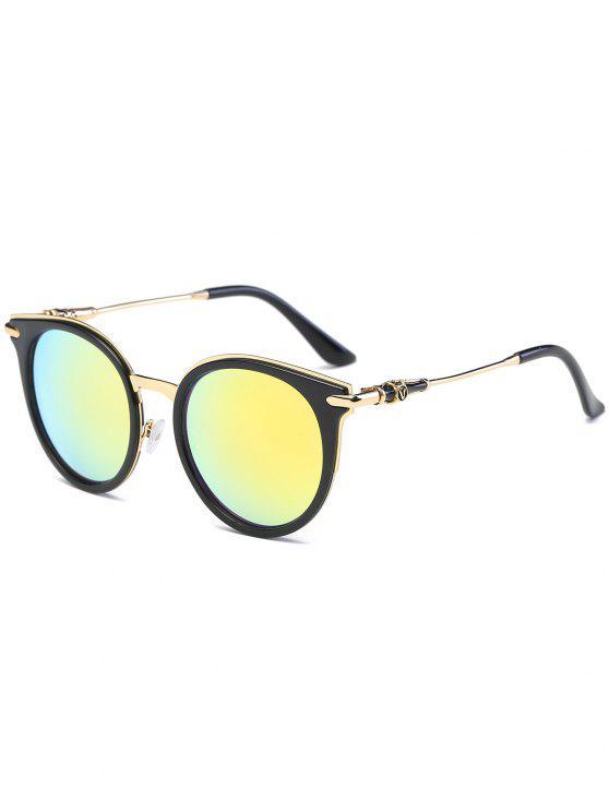 مرآة عاكسة جولة خمر القط العين النظارات الشمسية - ذهبي