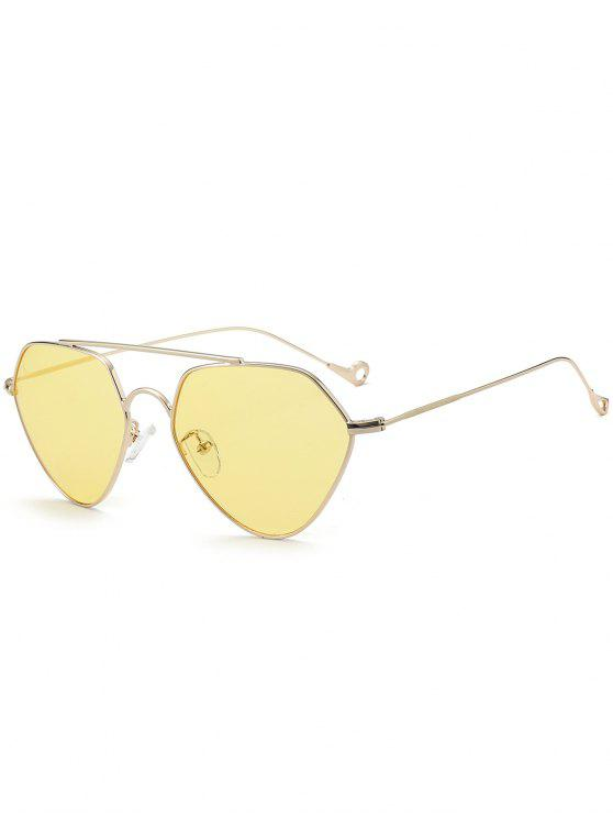 Asymmetric Hollow Out Leg Geometrical Sunglasses - Amarelo