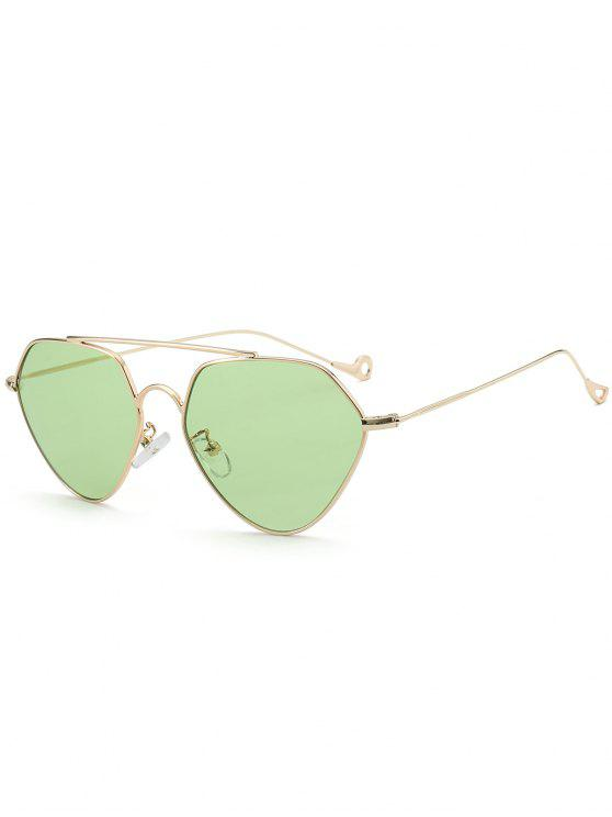 lady Asymmetric Hollow Out Leg Geometrical Sunglasses - LIGHT GREEN