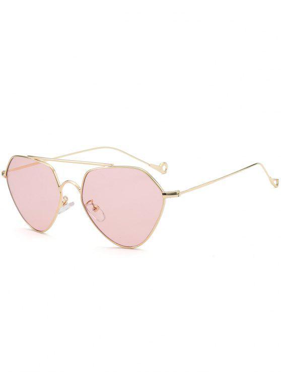 ladies Asymmetric Hollow Out Leg Geometrical Sunglasses - PINK