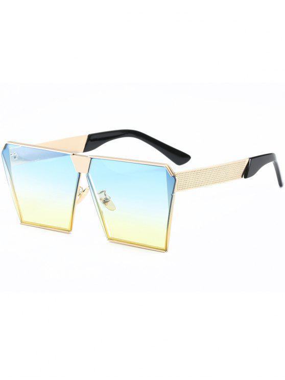 خمر الإطار مربع النظارات الشمسية - ذهب إطار + عدسة الأصفر والأزرق