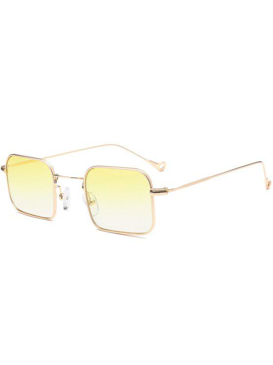 Ombre asimétrico ahueca hacia fuera el rectángulo de la pierna gafas de sol - Amarillo