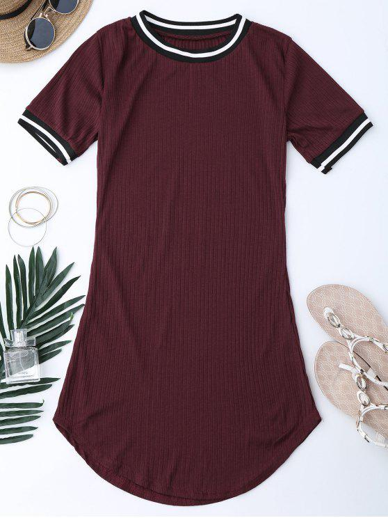 online Ribbed Striped Panel Mini Dress - WINE RED M