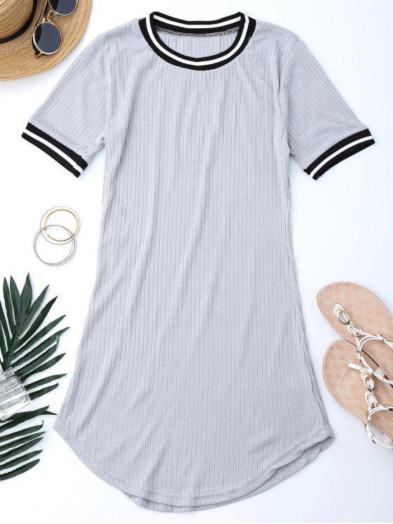 Vestido Mini Acanalado con Panel de Rayas - Gris S
