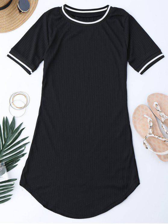 Robe Mini côtelée à rayures en tricot - Noir XL