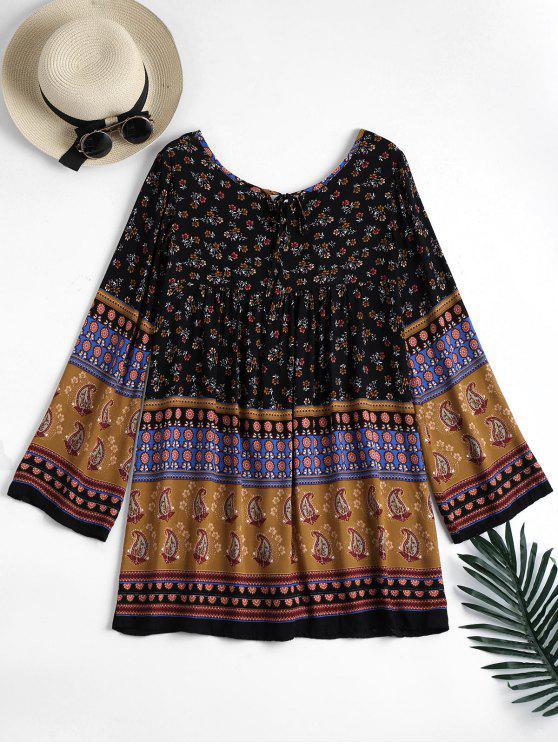 فستان طويلة الأكمام طباعة الاستوائية تونك - أسود M