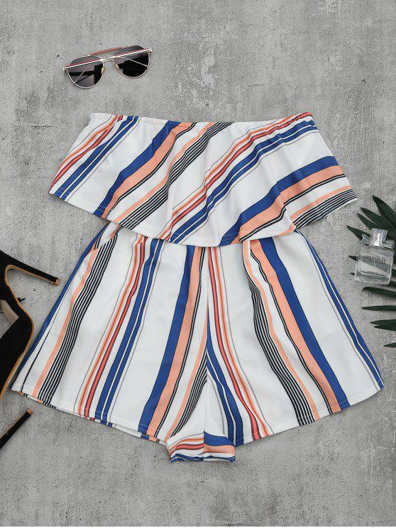 chic Bandeau Overlay Romper With Multi Stripes - COLORMIX L