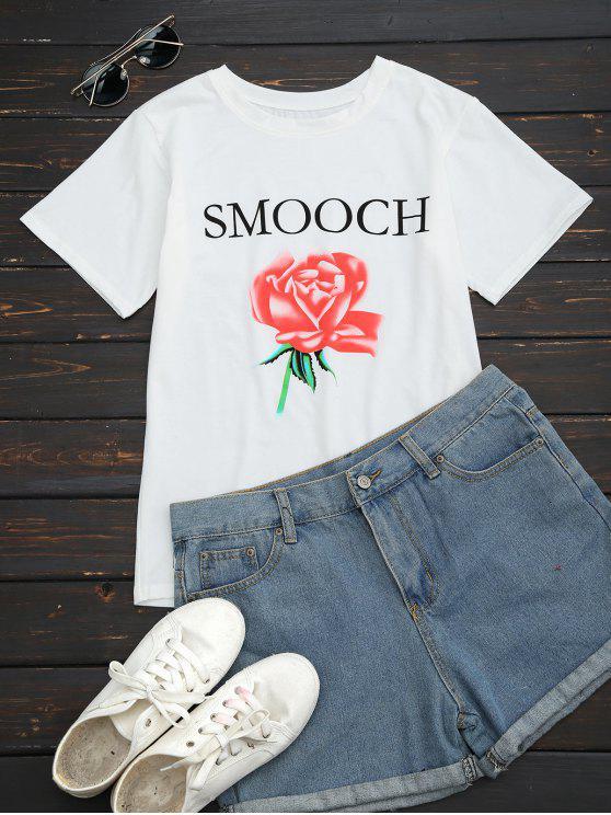 Camiseta redonda de la letra de la flor del collar - Blanco S