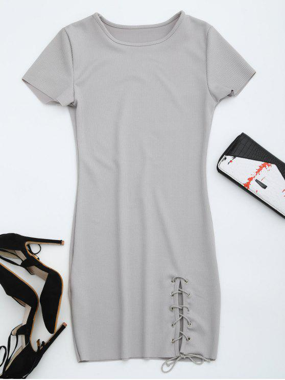 women Round Collar Ribbed Lace Up Dress - GRAY XL