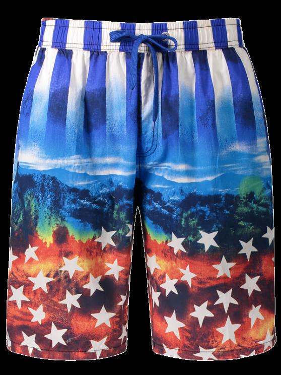 Pantalones cortos con estampado estrella y rayas - Azul 2XL