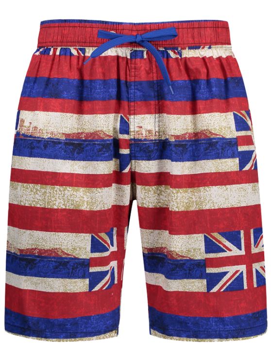 affordable Union Jack Printed Striped Board Shorts - RED L