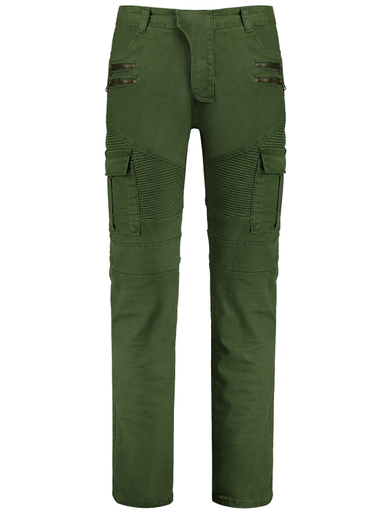 Zips Biker Pants con Multi Pockets - Verde 2XL