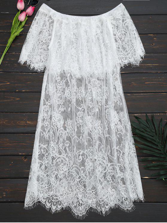 shop Off The Shoulder Sheer Lace Blouse - WHITE L