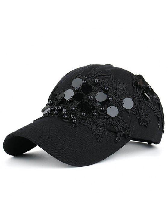 لاسيورك زهرة فو اللؤلؤ الترتر قبعة البيسبول - أسود