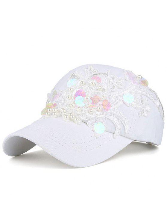 لاسيورك زهرة فو اللؤلؤ الترتر قبعة البيسبول - أبيض