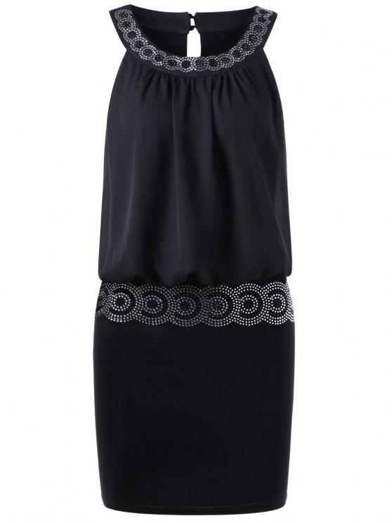 فستان مصغر مطرز بالترتر - أسود L