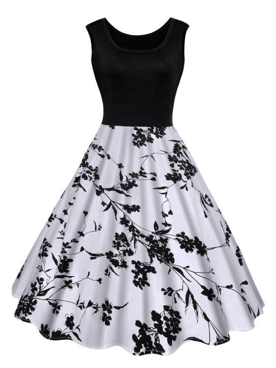Robe Midi Imprimée Florale Vintage - Noir XL