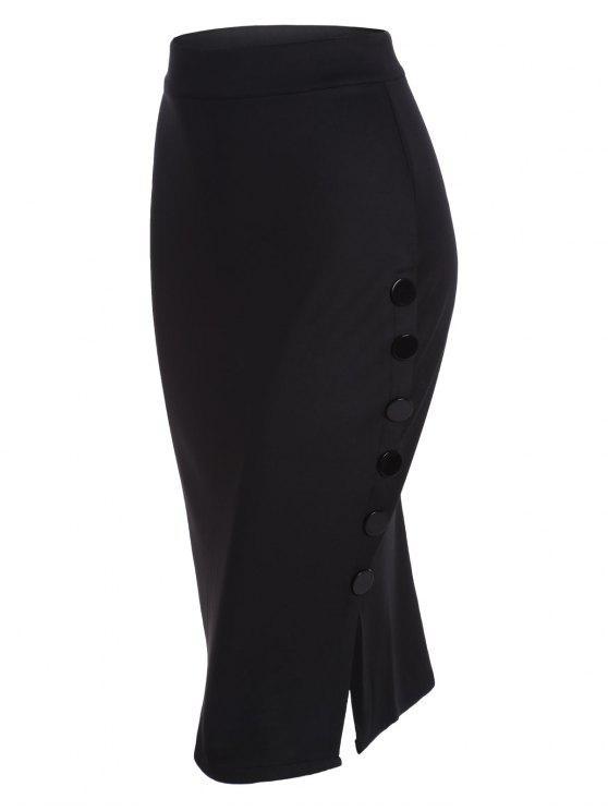 عالية مخصر زر تصميم بوديكون تنورة - أسود مقاس واحد