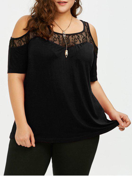 T-shirt Effet en Dentelle à épaules Nues Grande Taille - Noir 3XL