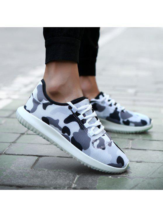 متعدد الألوان تنفس المطبوعة أحذية رياضية - أبيض 40